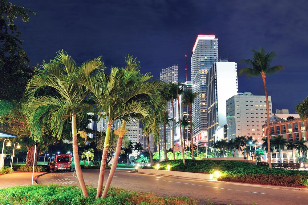 マイアミのダウンタウンの夜景