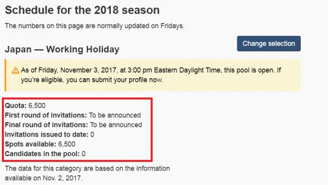 カナダのワーキングホリデービザに関する2017年11月時点での発表
